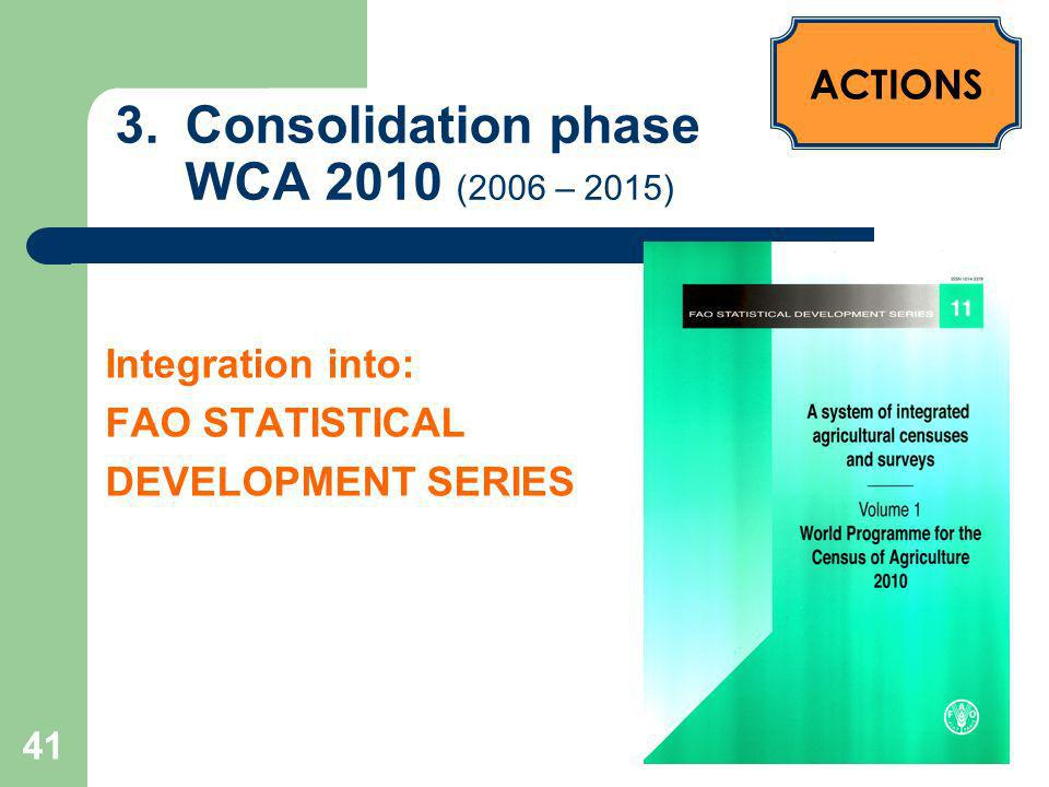 42 3.Consolidation – WCA 2010 (2006 – 2015) ACTIONS Forthcoming