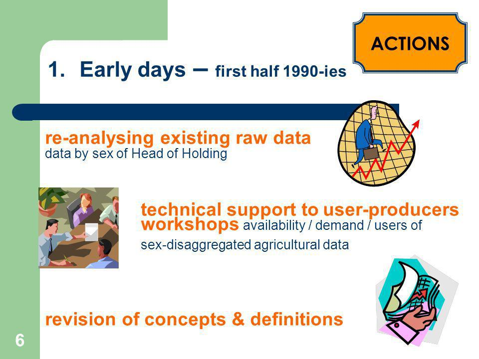 7 1.Early days – first half 1990-ies Awareness on need for sex-disaggregated data Knowledge among statisticians Openness to test collection sex-disaggregated data through existing agricultural surveys / censuses OUTCOME