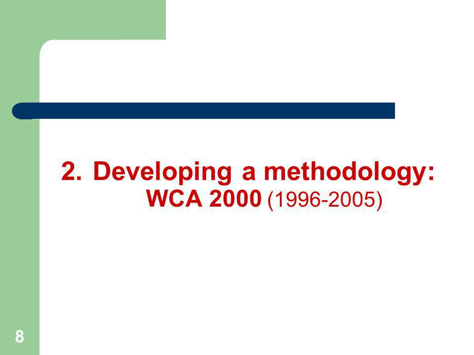 9 Gender analysis training Data analysis & presentation at sub-national level Data presentation at sub-household level ALL MEMBERS WORK 2.Developing a methodology: WCA 2000 (1996-2005) ACTIONS