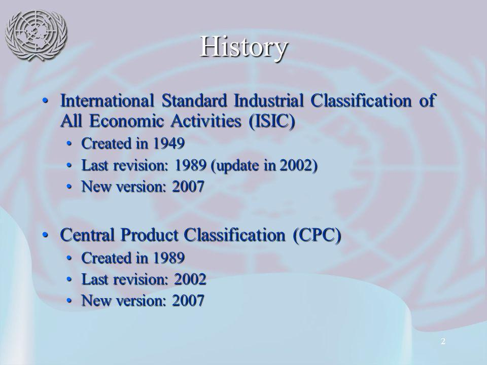 2 History International Standard Industrial Classification of All Economic Activities (ISIC)International Standard Industrial Classification of All Economic Activities (ISIC) Created in 1949Created in 1949 Last revision: 1989 (update in 2002)Last revision: 1989 (update in 2002) New version: 2007New version: 2007 Central Product Classification (CPC)Central Product Classification (CPC) Created in 1989Created in 1989 Last revision: 2002Last revision: 2002 New version: 2007New version: 2007
