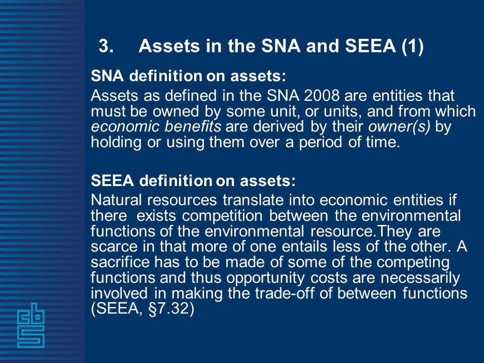 3.Assets in the SNA and SEEA (1) SNA definition on assets: Assets as defined in the SNA 2008 are entities that must be owned by some unit, or units, and from which economic benefits are derived by their owner(s) by holding or using them over a period of time.