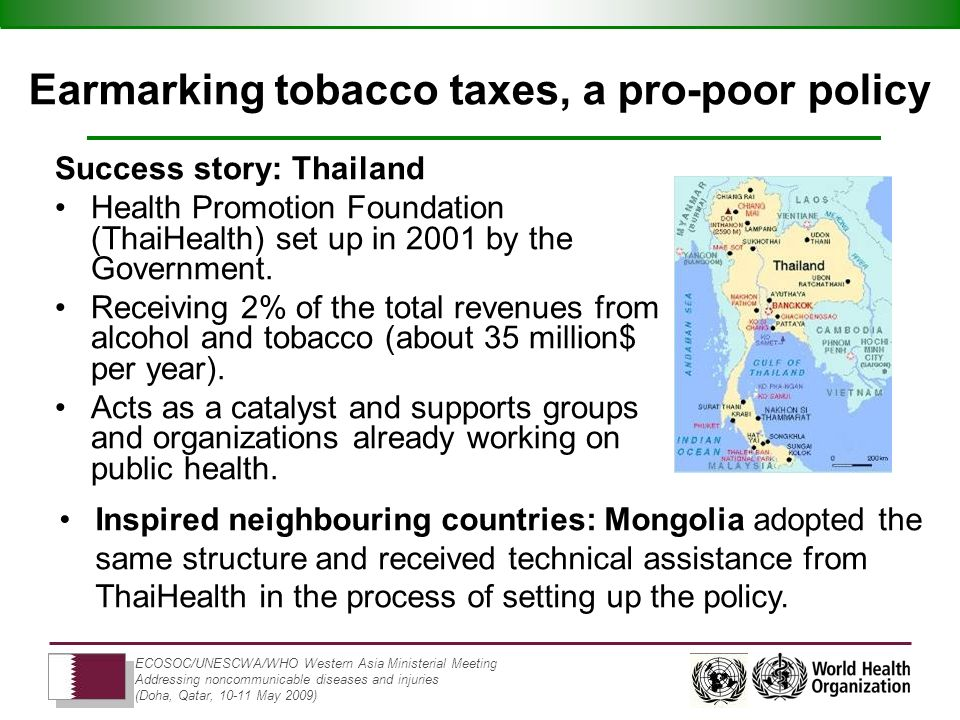 ECOSOC/UNESCWA/WHO Western Asia Ministerial Meeting Addressing noncommunicable diseases and injuries (Doha, Qatar, 10-11 May 2009) Earmarking tobacco