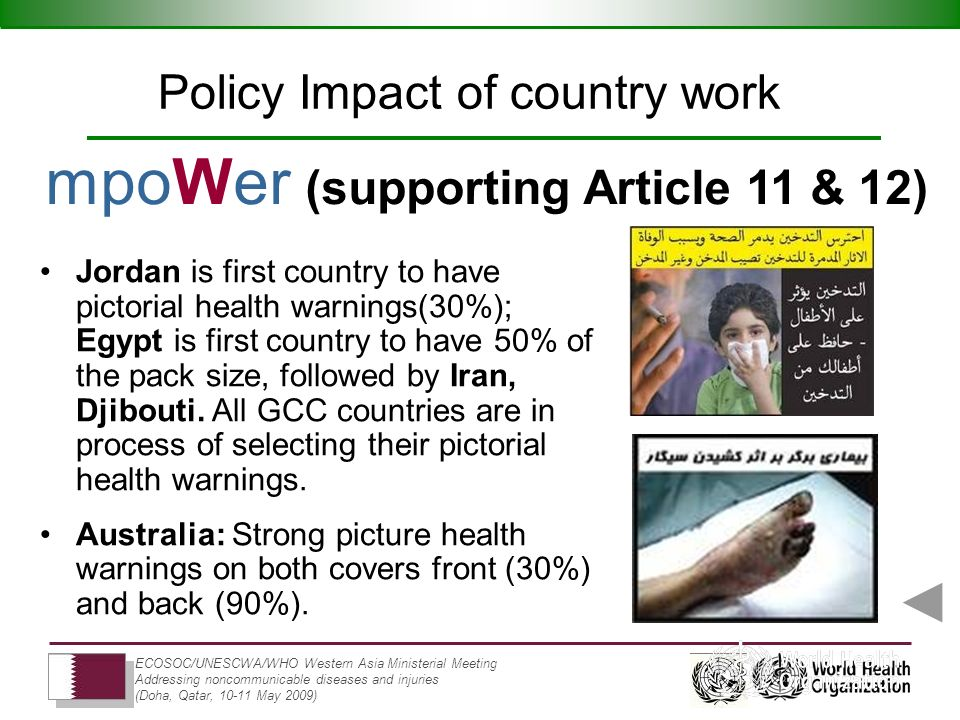 ECOSOC/UNESCWA/WHO Western Asia Ministerial Meeting Addressing noncommunicable diseases and injuries (Doha, Qatar, 10-11 May 2009) Jordan is first country to have pictorial health warnings(30%); Egypt is first country to have 50% of the pack size, followed by Iran, Djibouti.