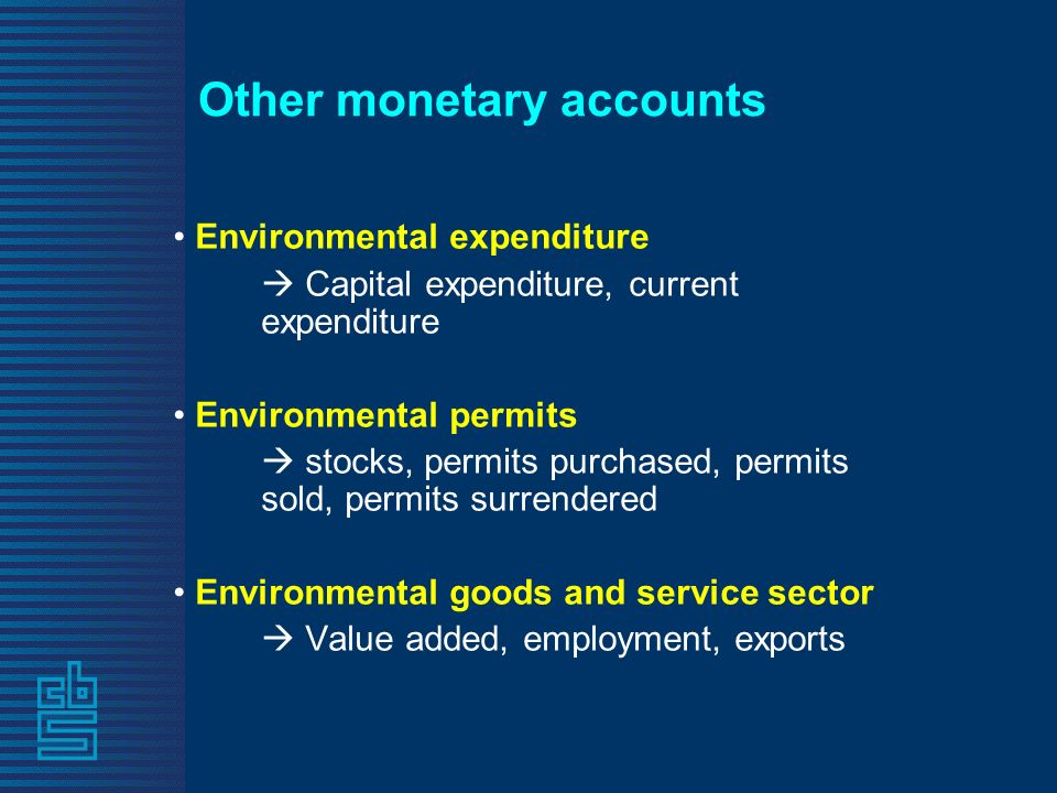 Other monetary accounts Environmental expenditure Capital expenditure, current expenditure Environmental permits stocks, permits purchased, permits sold, permits surrendered Environmental goods and service sector Value added, employment, exports
