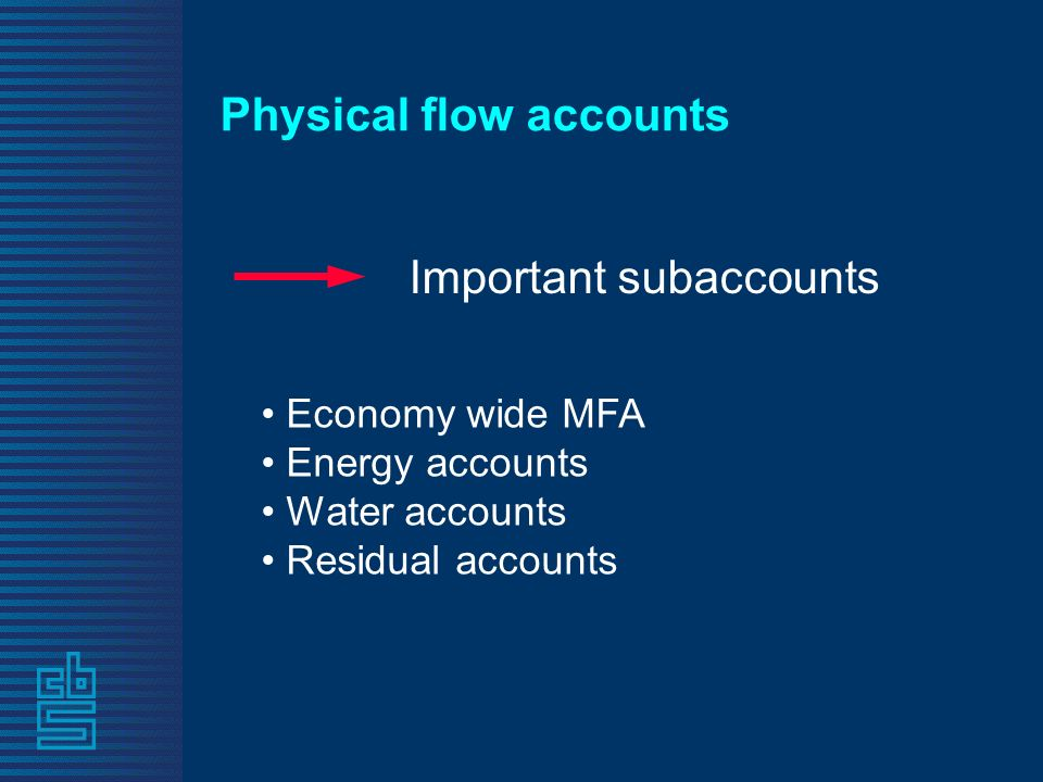 Physical flow accounts Economy wide MFA Energy accounts Water accounts Residual accounts Important subaccounts