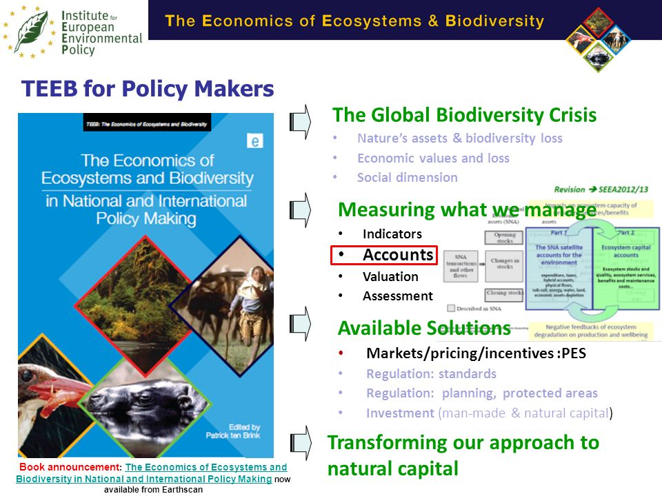 The Global Biodiversity Crisis Natures assets & biodiversity loss Economic values and loss Social dimension Transforming our approach to natural capital Available Solutions Markets/pricing/incentives :PES Regulation: standards Regulation: planning, protected areas Investment (man-made & natural capital) Measuring what we manage Indicators Accounts Valuation Assessment TEEB for Policy Makers Book announcement : The Economics of Ecosystems and Biodiversity in National and International Policy Making now available from Earthscan The Economics of Ecosystems and Biodiversity in National and International Policy Making