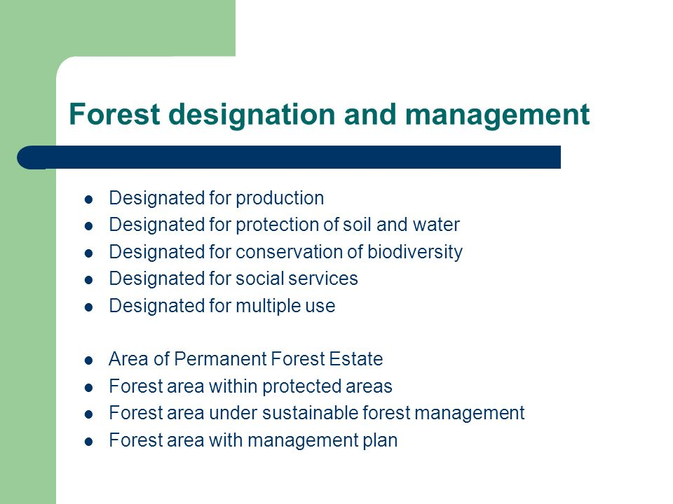 Forest designation and management Designated for production Designated for protection of soil and water Designated for conservation of biodiversity Designated for social services Designated for multiple use Area of Permanent Forest Estate Forest area within protected areas Forest area under sustainable forest management Forest area with management plan