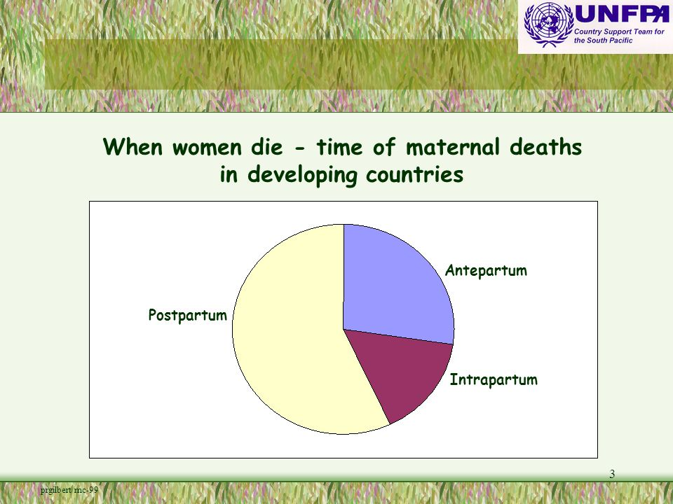 3 When women die - time of maternal deaths in developing countries Antepartum Intrapartum Postpartum