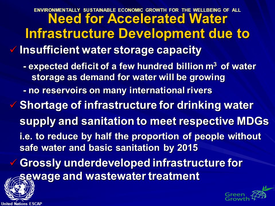 United Nations ESCAP ENVIRONMENTALLY SUSTAINABLE ECONOMIC GROWTH FOR THE WELLBEING OF ALL Need for Accelerated Water Infrastructure Development due to Insufficient water storage capacity Insufficient water storage capacity - expected deficit of a few hundred billion m 3 of water storage as demand for water will be growing - no reservoirs on many international rivers Shortage of infrastructure for drinking water supply and sanitation to meet respective MDGs Shortage of infrastructure for drinking water supply and sanitation to meet respective MDGs i.e.