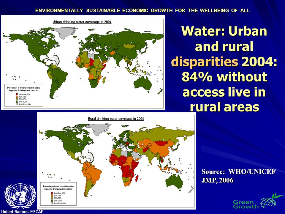 United Nations ESCAP ENVIRONMENTALLY SUSTAINABLE ECONOMIC GROWTH FOR THE WELLBEING OF ALL Water: Urban and rural disparities 2004: 84% without access live in rural areas Source: WHO/UNICEF JMP, 2006