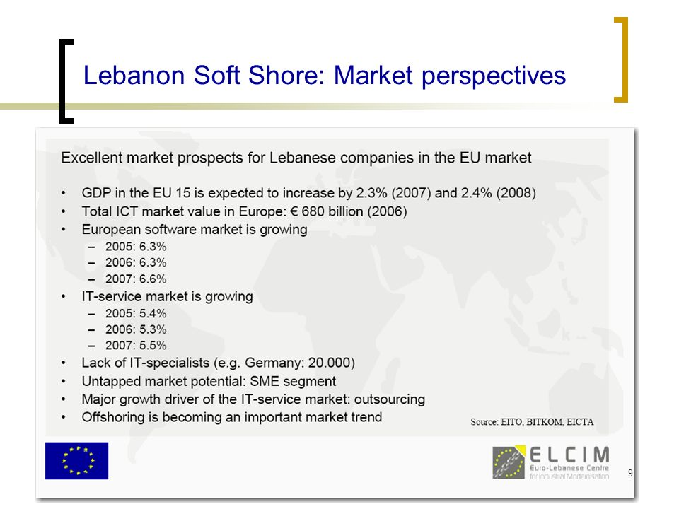 29 July 2007Association of the Lebanese Software Industry (ALSI) Lebanon Soft Shore: Market perspectives 9