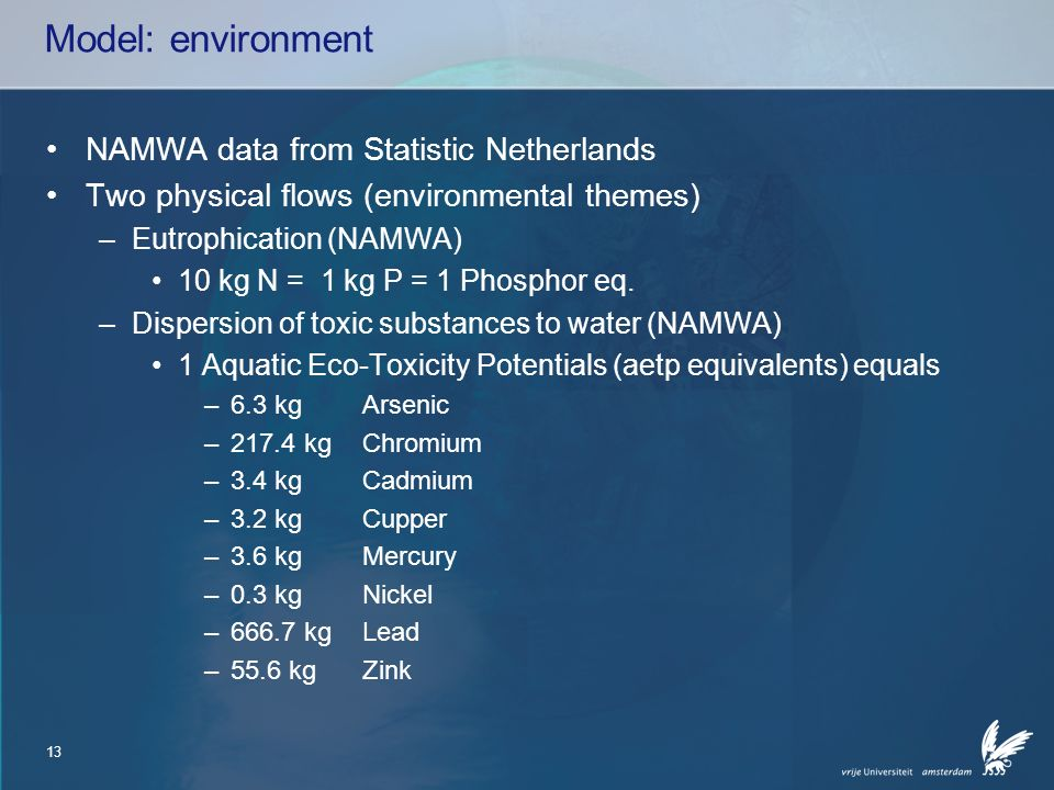13 Model: environment NAMWA data from Statistic Netherlands Two physical flows (environmental themes) –Eutrophication (NAMWA) 10 kg N = 1 kg P = 1 Phosphor eq.