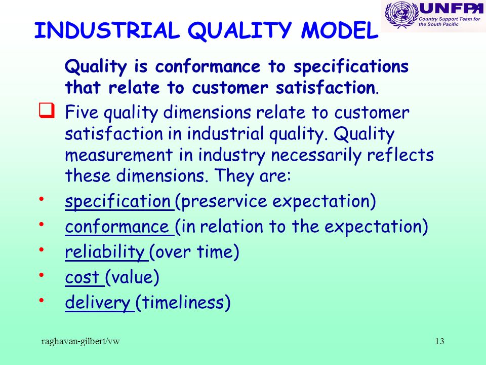 raghavan-gilbert/vw13 INDUSTRIAL QUALITY MODEL Quality is conformance to specifications that relate to customer satisfaction. q Five quality dimension