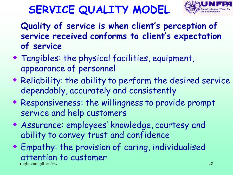 raghavan-gilbert/vw28 SERVICE QUALITY MODEL Quality of service is when clients perception of service received conforms to clients expectation of servi
