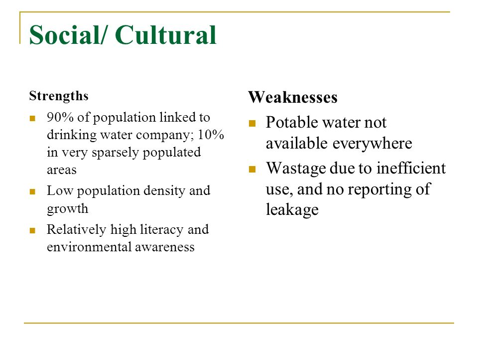 Social/ Cultural Strengths 90% of population linked to drinking water company; 10% in very sparsely populated areas Low population density and growth Relatively high literacy and environmental awareness Weaknesses Potable water not available everywhere Wastage due to inefficient use, and no reporting of leakage