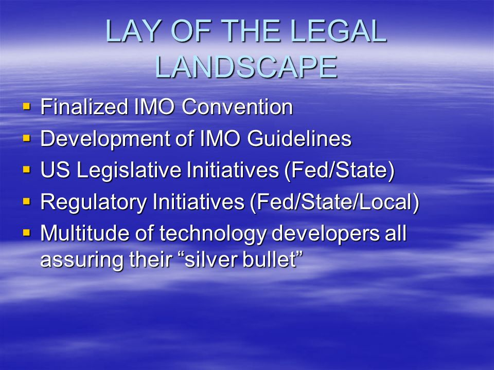 IMO CONVENTION VS.US LEGISLATION IMO entry into force???.
