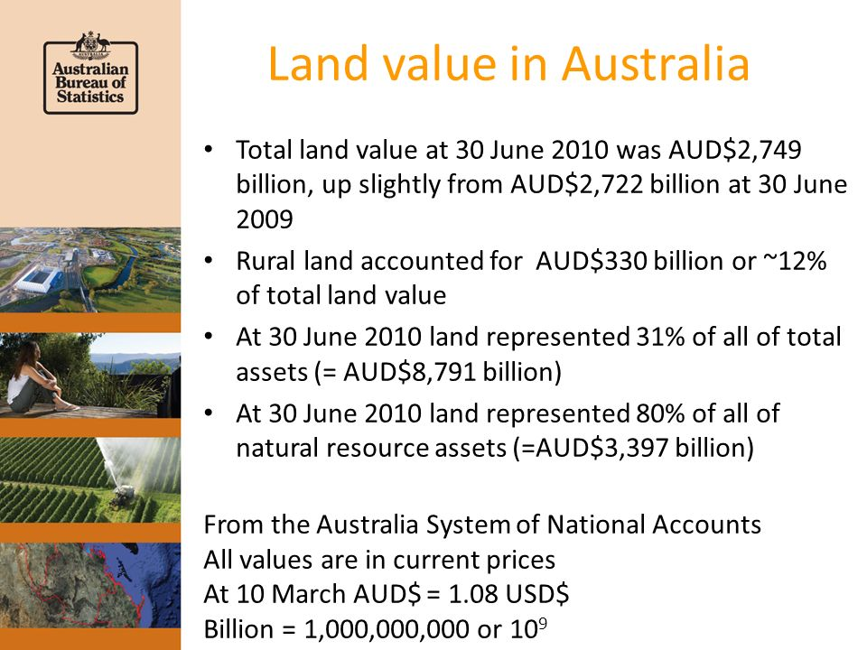 Land value in Australia Total land value at 30 June 2010 was AUD$2,749 billion, up slightly from AUD$2,722 billion at 30 June 2009 Rural land accounted for AUD$330 billion or ~12% of total land value At 30 June 2010 land represented 31% of all of total assets (= AUD$8,791 billion) At 30 June 2010 land represented 80% of all of natural resource assets (=AUD$3,397 billion) From the Australia System of National Accounts All values are in current prices At 10 March AUD$ = 1.08 USD$ Billion = 1,000,000,000 or 10 9