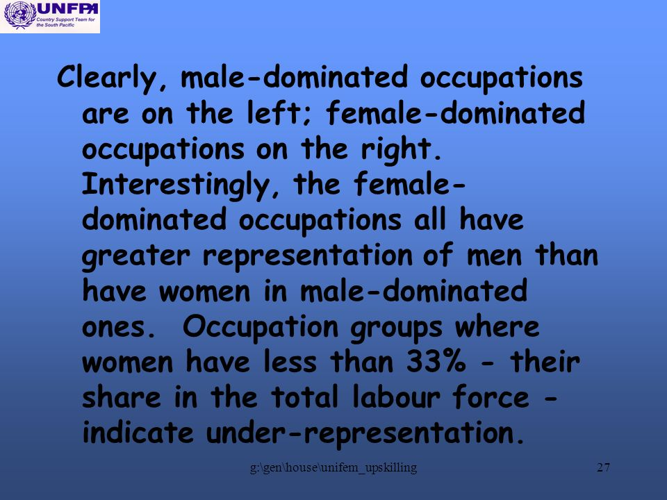 g:\gen\house\unifem_upskilling27 Clearly, male-dominated occupations are on the left; female-dominated occupations on the right.