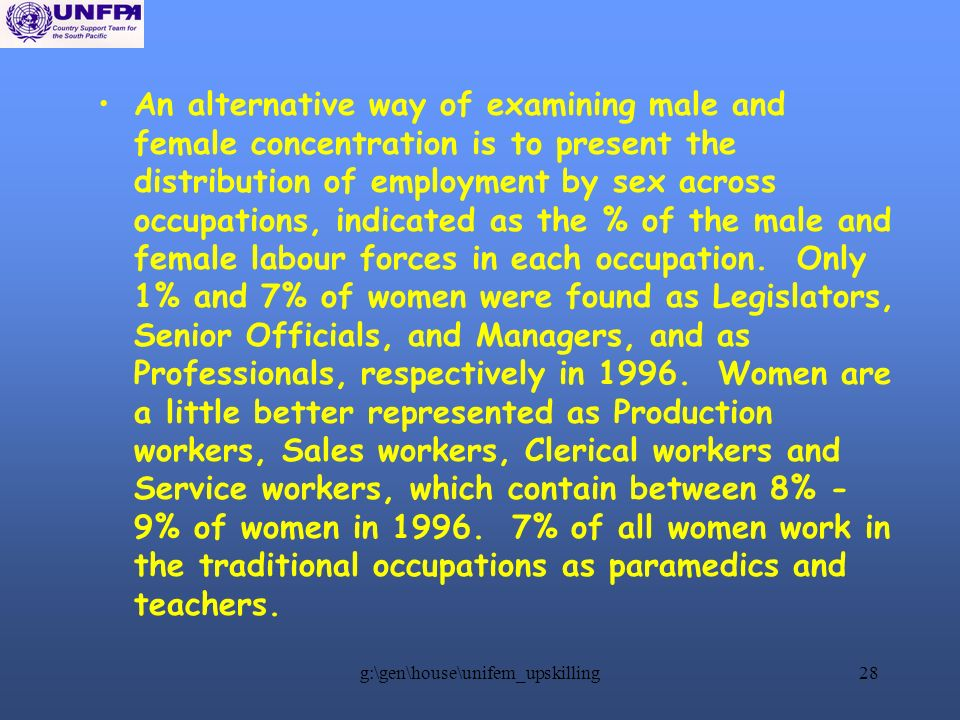 g:\gen\house\unifem_upskilling28 An alternative way of examining male and female concentration is to present the distribution of employment by sex across occupations, indicated as the % of the male and female labour forces in each occupation.