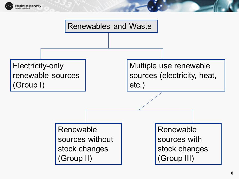 8 Renewables and Waste Electricity-only renewable sources (Group I) Multiple use renewable sources (electricity, heat, etc.) Renewable sources without stock changes (Group II) Renewable sources with stock changes (Group III)