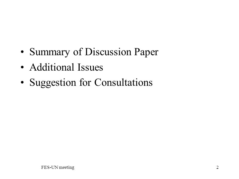 FES-UN meeting2 Summary of Discussion Paper Additional Issues Suggestion for Consultations
