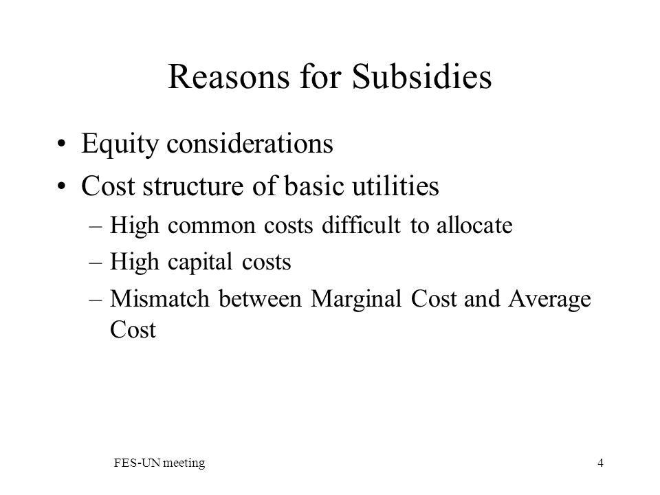 FES-UN meeting4 Reasons for Subsidies Equity considerations Cost structure of basic utilities –High common costs difficult to allocate –High capital costs –Mismatch between Marginal Cost and Average Cost