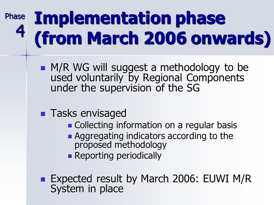 Test phase (July 2005-March 2006) Tasks envisaged Tasks envisaged Performing a pilot test Performing a pilot test Adapting the methodology Adapting the methodology Preparing a version 0 of the EUWI Assessment Report Preparing a version 0 of the EUWI Assessment Report Activities to be undertaken Activities to be undertaken Applying the methodology to the activities of the EUWI at the country or basin level (case study) Applying the methodology to the activities of the EUWI at the country or basin level (case study) Prepare a set of deliverables for March 2006: Prepare a set of deliverables for March 2006: Description of the proposed monitoring tools Description of the proposed monitoring tools Recommendations for policy monitoring Recommendations for policy monitoring Results from monitoring the case study Results from monitoring the case study Phase3
