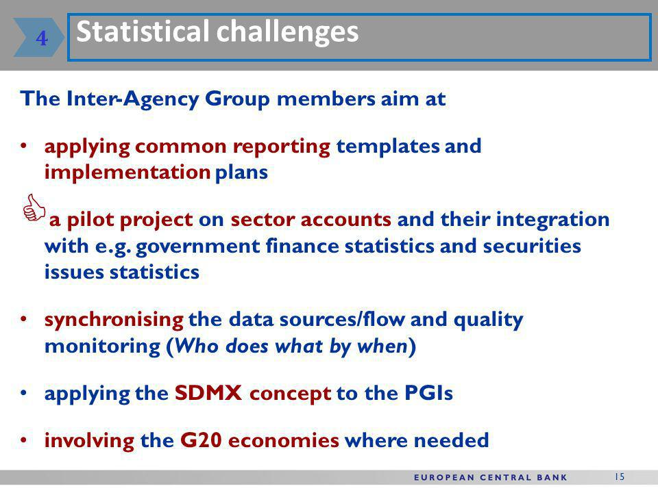 15 Statistical challenges The Inter-Agency Group members aim at applying common reporting templates and implementation plans a pilot project on sector accounts and their integration with e.g.