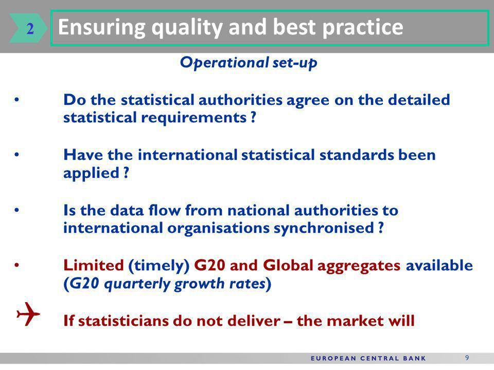 9 Operational set-up Do the statistical authorities agree on the detailed statistical requirements .