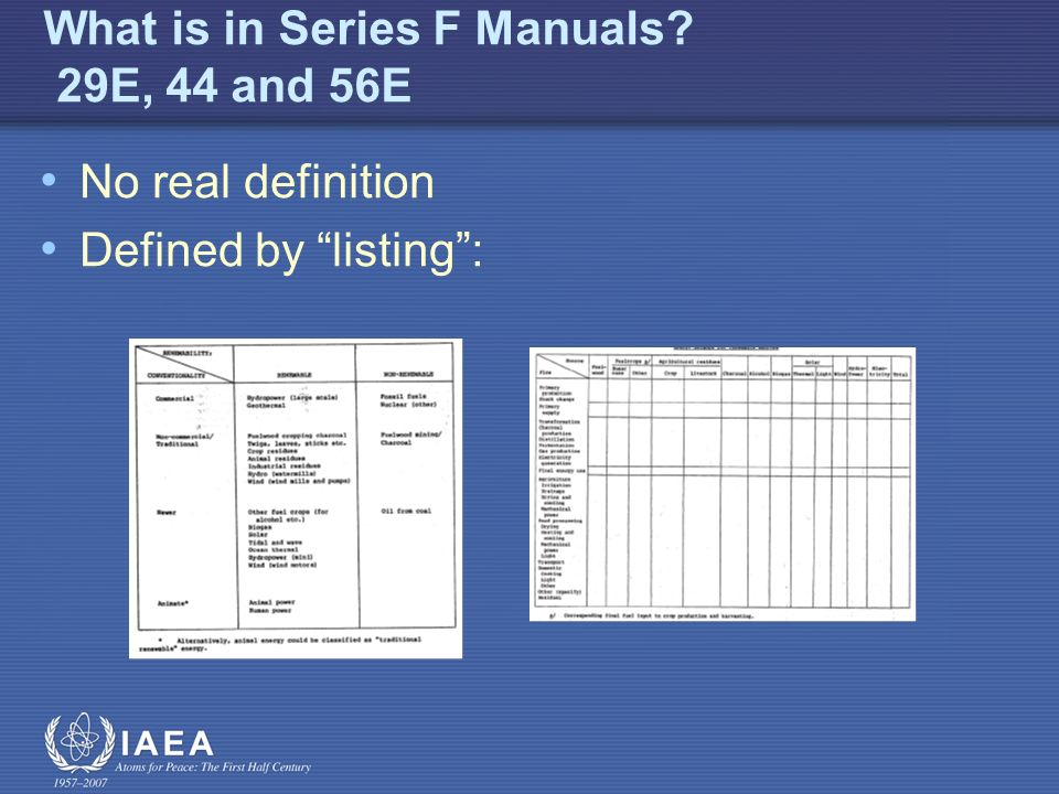 What is in Series F Manuals? 29E, 44 and 56E No real definition Defined by listing: