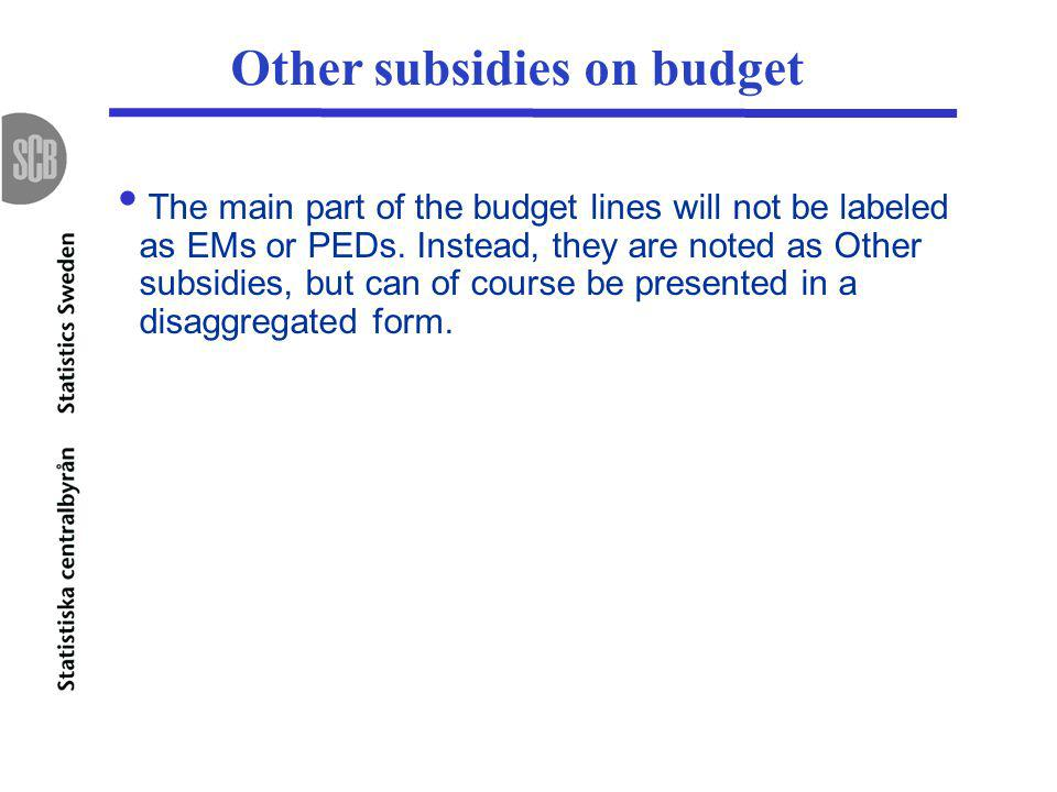 Other subsidies on budget The main part of the budget lines will not be labeled as EMs or PEDs.