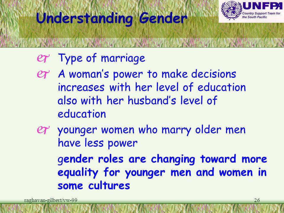 raghavan-gilbert/vw-9925 Understanding Gender pDifferences in power between men and women are not absolute or universal. Some poor, illiterate, unempl