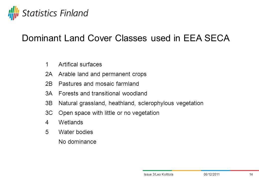 Dominant Land Cover Classes used in EEA SECA 06/12/201114Issue 3/Leo Kolttola