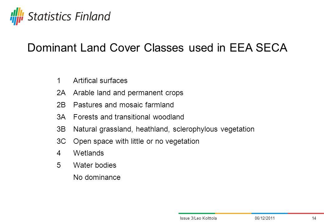 Dominant Land Cover Classes used in EEA SECA 06/12/201114Issue 3/Leo Kolttola