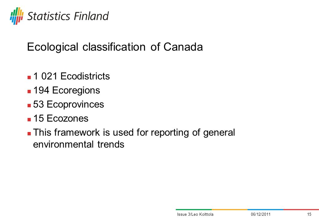 Ecological classification of Canada 1 021 Ecodistricts 194 Ecoregions 53 Ecoprovinces 15 Ecozones This framework is used for reporting of general environmental trends 06/12/201115Issue 3/Leo Kolttola