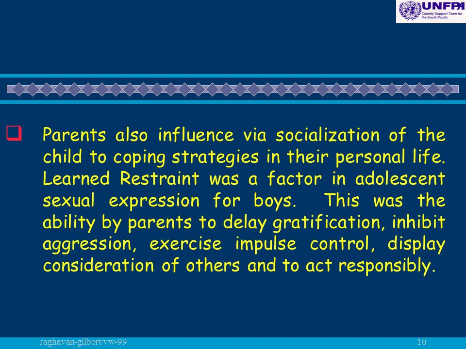 raghavan-gilbert/vw-9910 q Parents also influence via socialization of the child to coping strategies in their personal life.