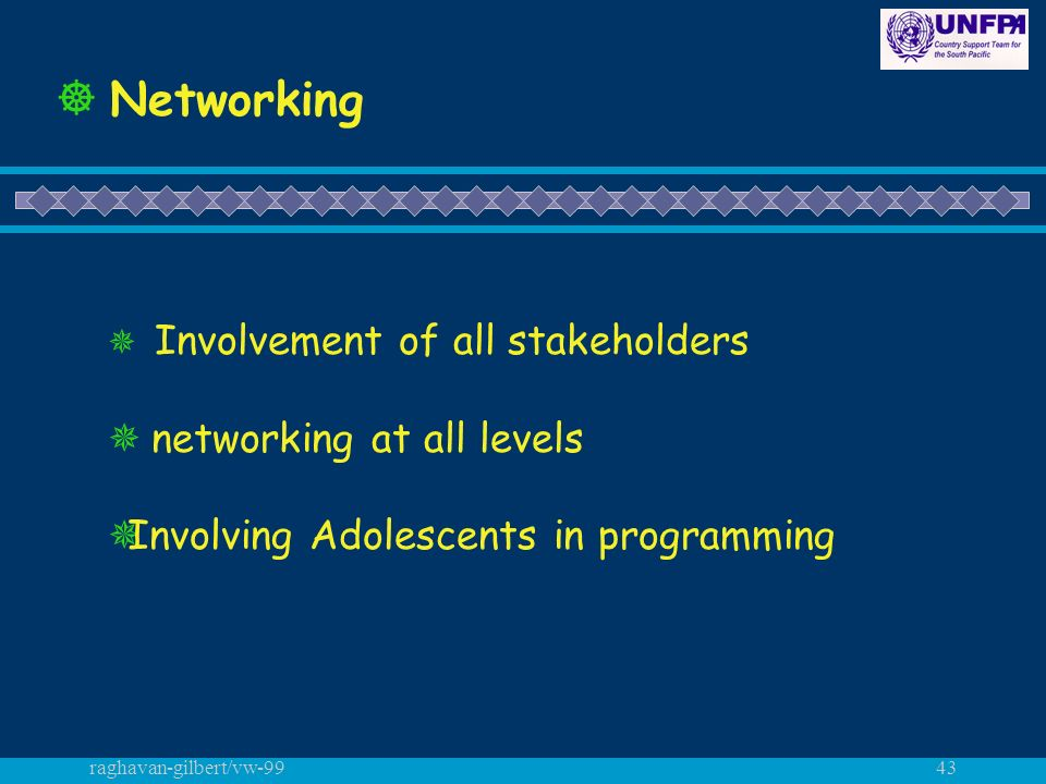 raghavan-gilbert/vw-9943 Networking Involvement of all stakeholders networking at all levels Involving Adolescents in programming