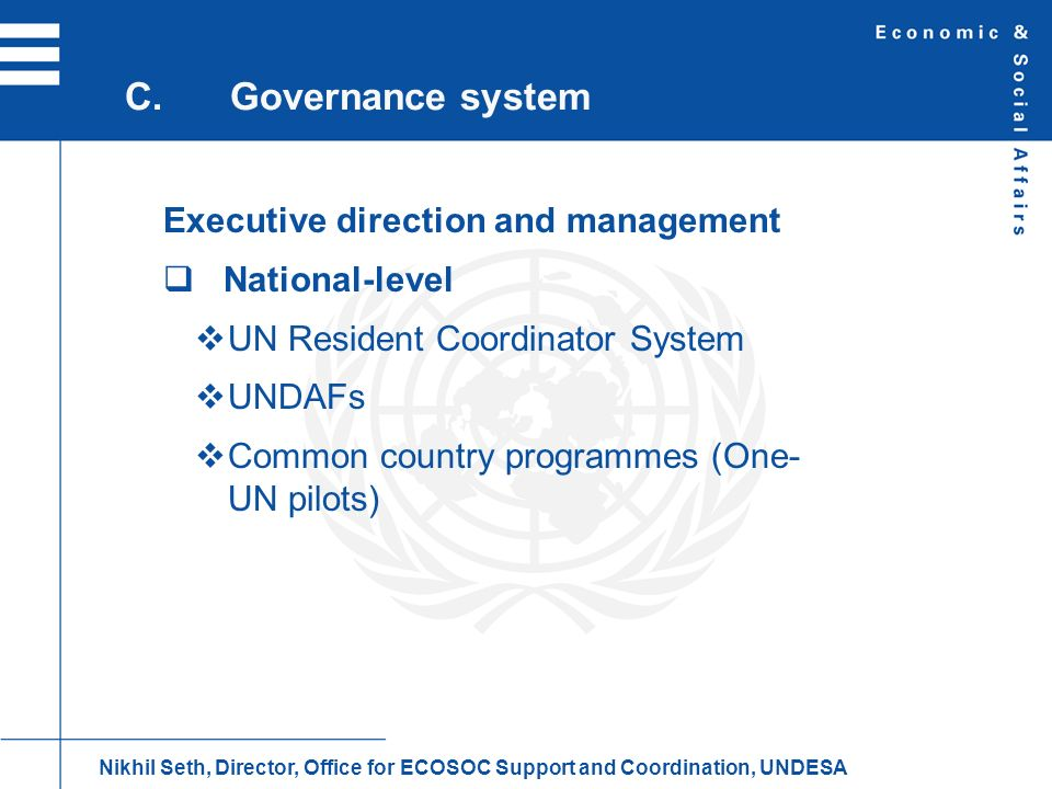 Executive direction and management National-level UN Resident Coordinator System UNDAFs Common country programmes (One- UN pilots) C.Governance system