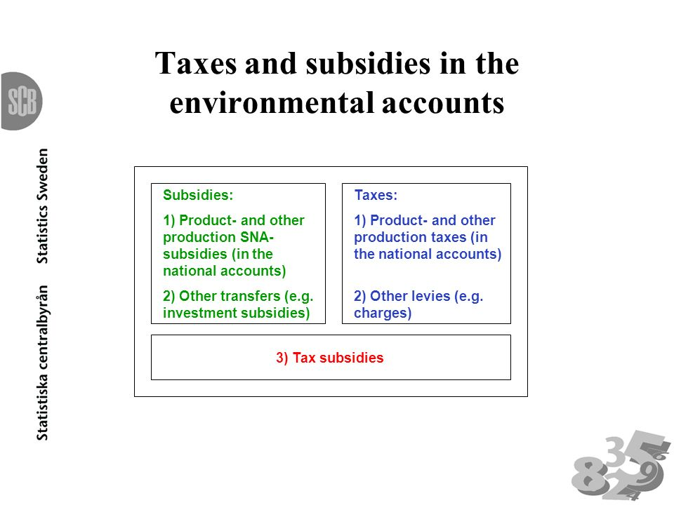 Taxes and subsidies in the environmental accounts Subsidies: 1) Product- and other production SNA- subsidies (in the national accounts) 2) Other transfers (e.g.