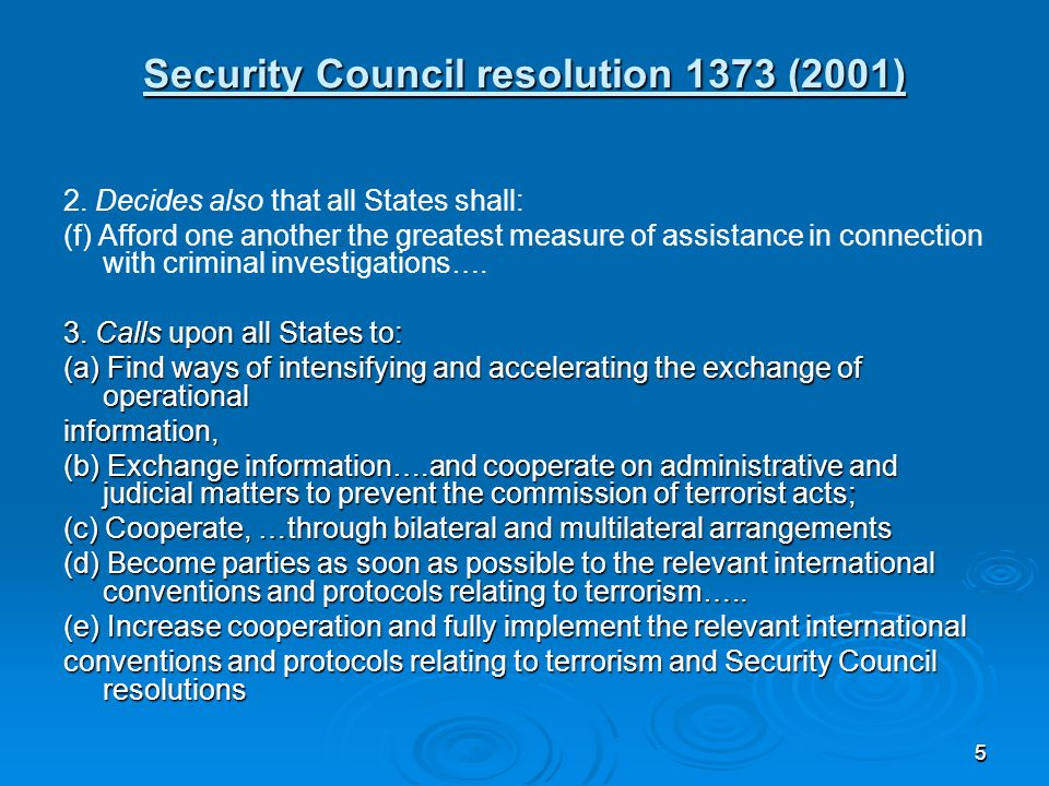 55 Security Council resolution 1373 (2001) 2.