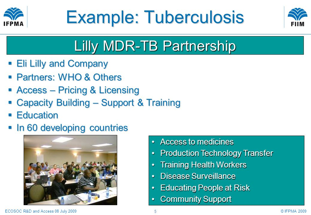 © IFPMA 2009ECOSOC R&D and Access 08 July 2009 5 Example: Tuberculosis Eli Lilly and Company Eli Lilly and Company Partners: WHO & Others Partners: WHO & Others Access – Pricing & Licensing Access – Pricing & Licensing Capacity Building – Support & Training Capacity Building – Support & Training Education Education In 60 developing countries In 60 developing countries Lilly MDR-TB Partnership Access to medicinesAccess to medicines Production Technology TransferProduction Technology Transfer Training Health WorkersTraining Health Workers Disease SurveillanceDisease Surveillance Educating People at RiskEducating People at Risk Community SupportCommunity Support