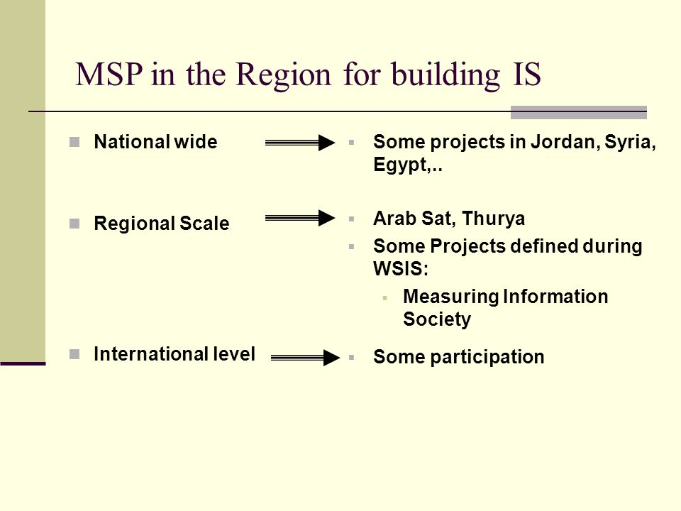 MSP in the Region for building IS National wide Regional Scale International level Some projects in Jordan, Syria, Egypt,.. Arab Sat, Thurya Some Proj