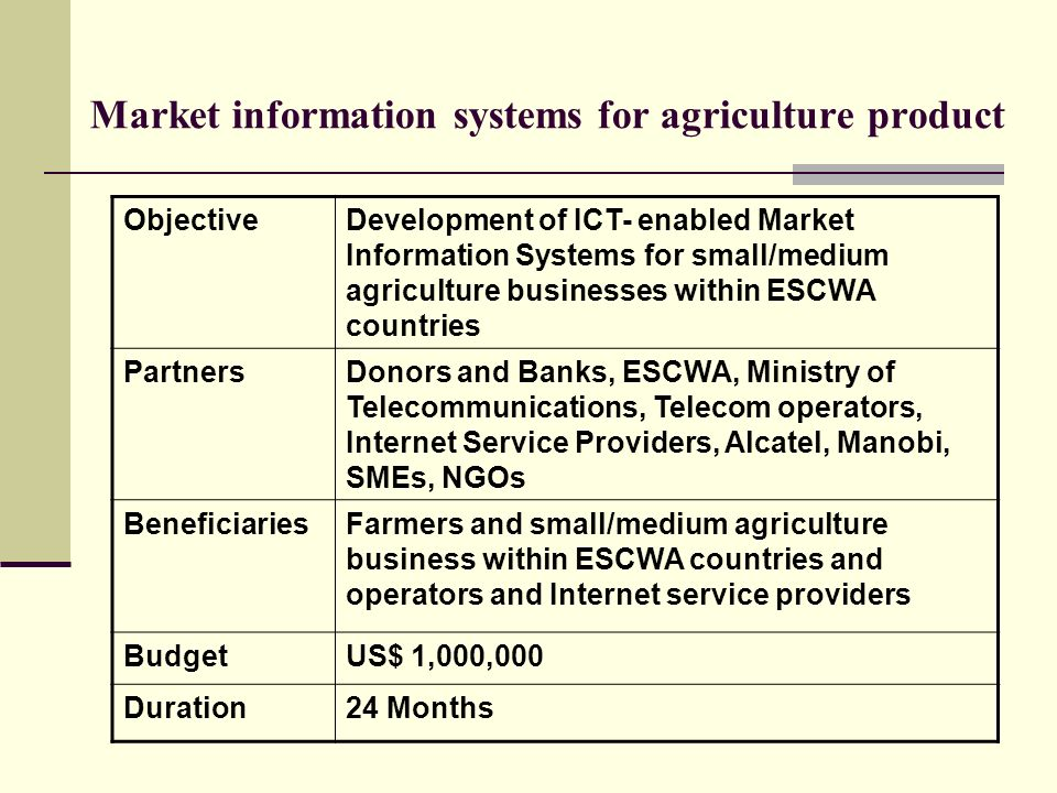 Market information systems for agriculture product ObjectiveDevelopment of ICT- enabled Market Information Systems for small/medium agriculture busine