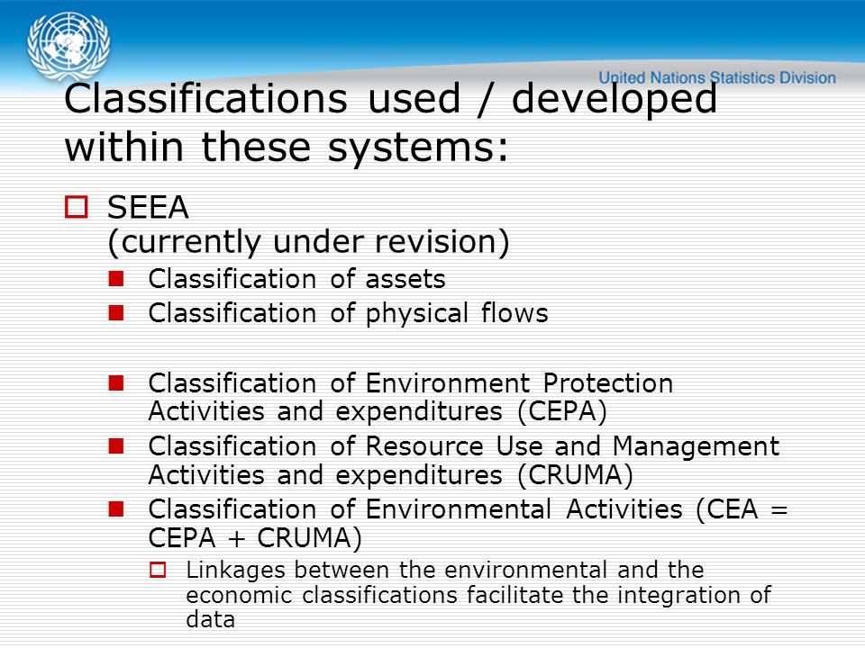 Classifications used / developed within these systems: SEEA (currently under revision) Classification of assets Classification of physical flows Class