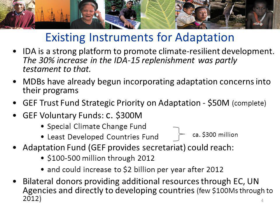 4 Existing Instruments for Adaptation IDA is a strong platform to promote climate-resilient development.