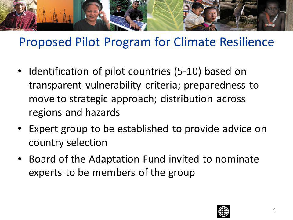 9 Identification of pilot countries (5-10) based on transparent vulnerability criteria; preparedness to move to strategic approach; distribution across regions and hazards Expert group to be established to provide advice on country selection Board of the Adaptation Fund invited to nominate experts to be members of the group