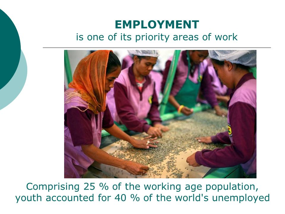 Comprising 25 % of the working age population, youth accounted for 40 % of the world s unemployed EMPLOYMENT is one of its priority areas of work
