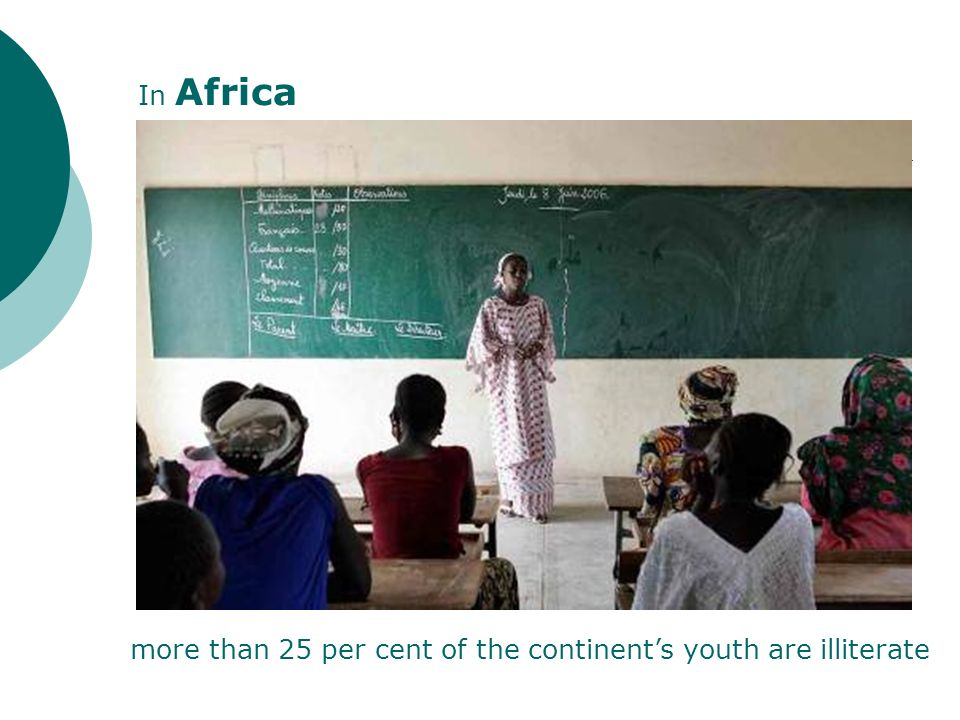 more than 25 per cent of the continents youth are illiterate In Africa