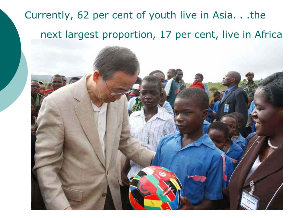 Currently, 62 per cent of youth live in Asia...the next largest proportion, 17 per cent, live in Africa