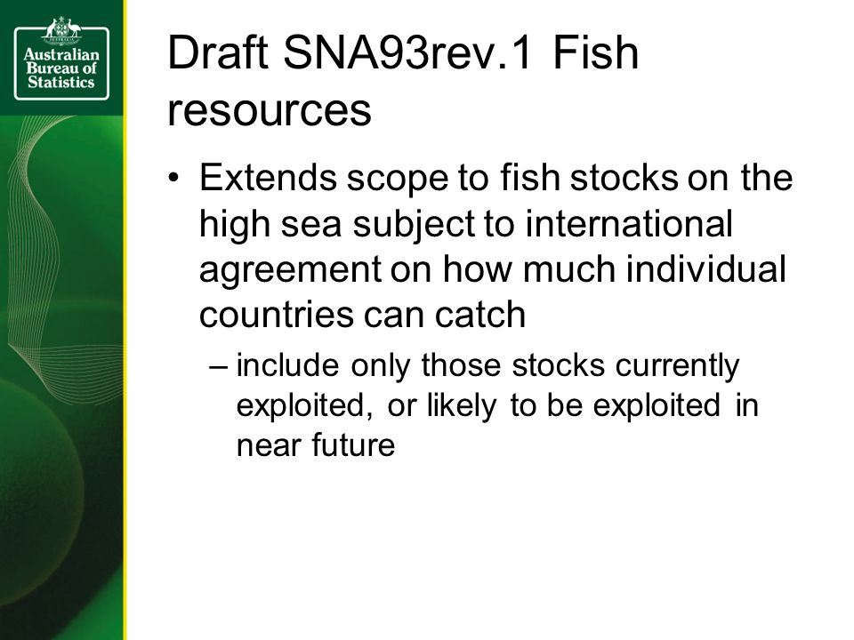 Draft SNA93rev.1 Fish resources Extends scope to fish stocks on the high sea subject to international agreement on how much individual countries can catch –include only those stocks currently exploited, or likely to be exploited in near future
